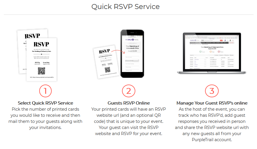 how does the quick rsvp service work purpletrail help